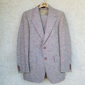 Vintage 70's Highlander Tan Wool Tweed 3 Pc Suit